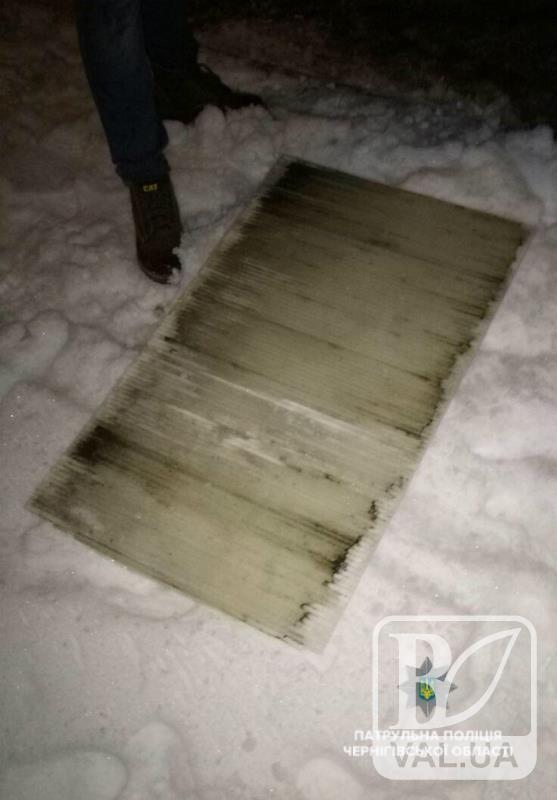Двоє п'яних чернігівців зірвали шматок покрівлі з зупинки, щоб покататись з гірки