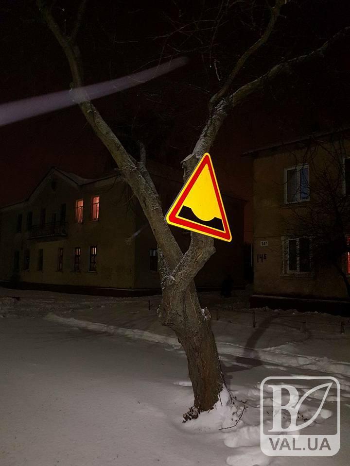 У Чернігові встановлюють дорожні знаки на деревах.ФОТОфакт