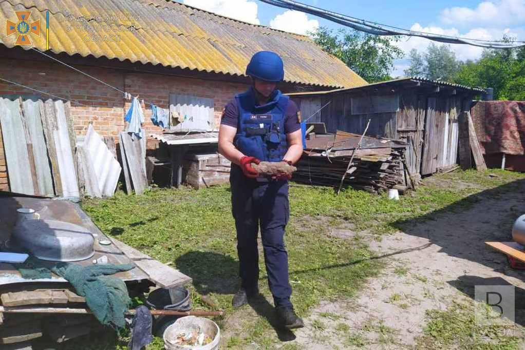 На Чернігівщині люди під час викопування погребу знайшли артилерійський снаряд. ФОТО