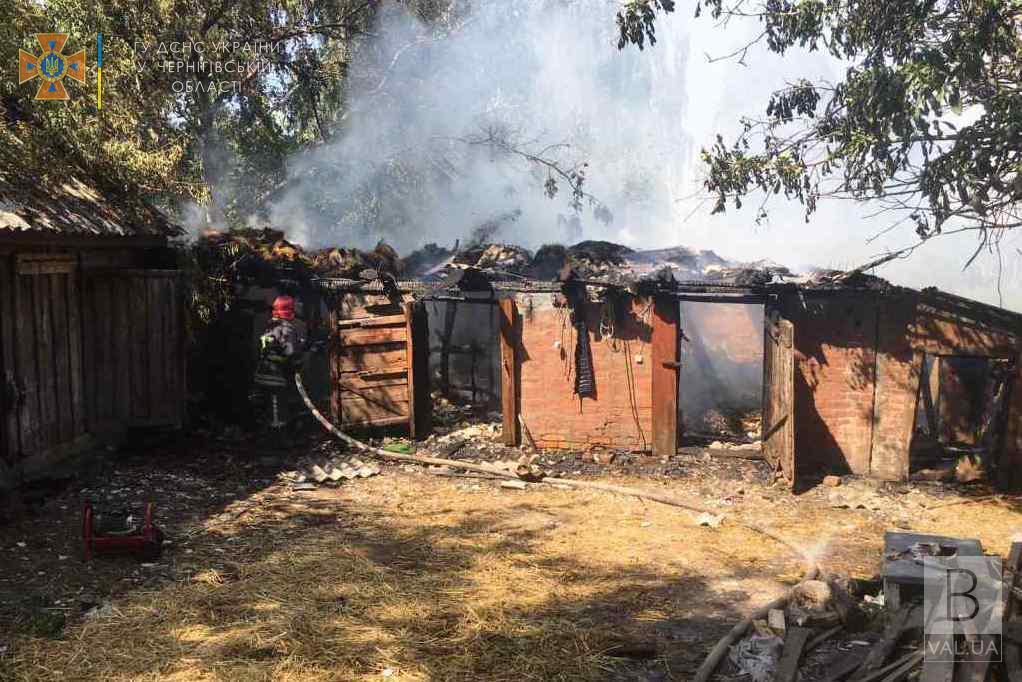 На Чернігівщині через спалювання сухої трави згоріли дві будівлі, ще одна пошкоджена