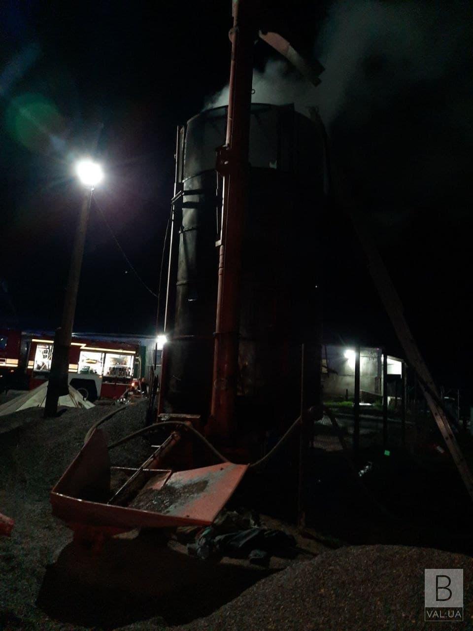 У Чернігівському районі горіла зерносушарка: вогонь знищив 200 кг насіння соняшника
