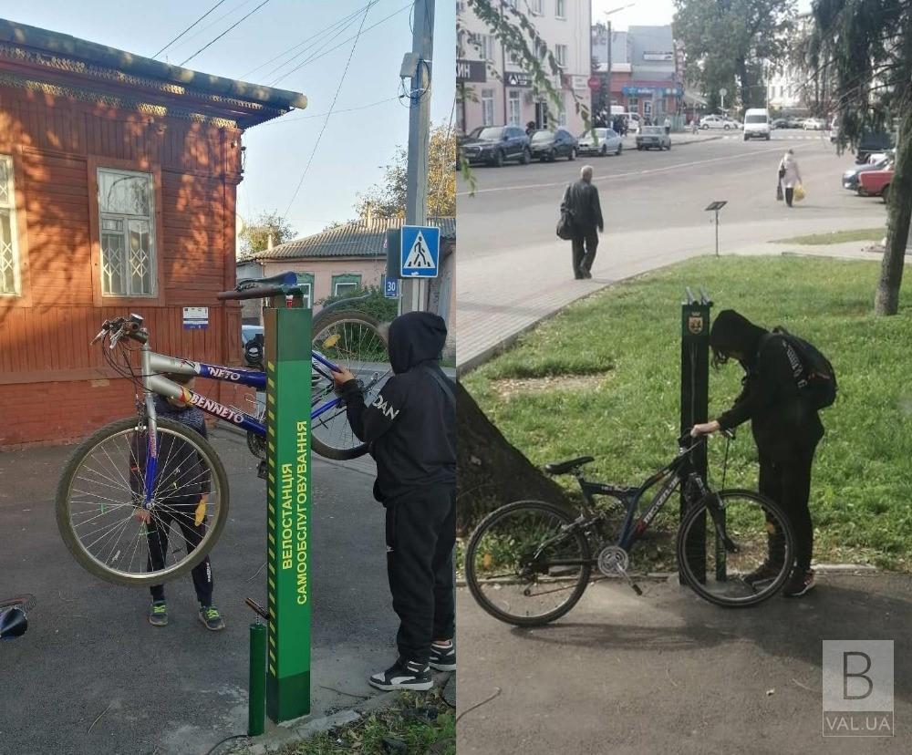 На Ніжинщині встановили станції для ремонту велосипедів