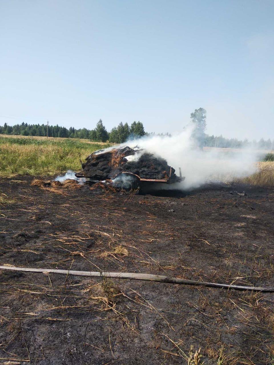 У Чернігівському районі тракторний причеп згорів разом із сіном. ФОТО
