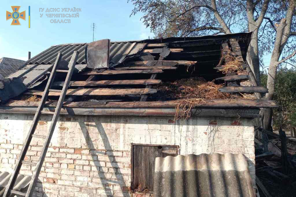 На Чернігівщині за добу вогонь знищив дві будівлі та чотири пошкодив