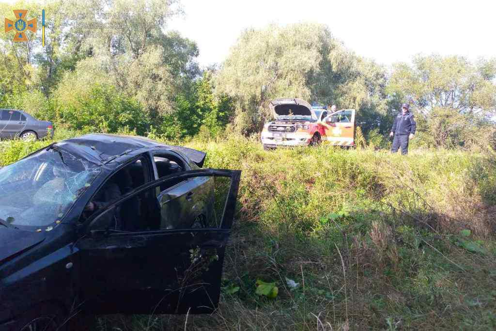 На трасі Київ-Чернігів рятувальники допомогли витягти авто, яке злетіло у кювет. ФОТО